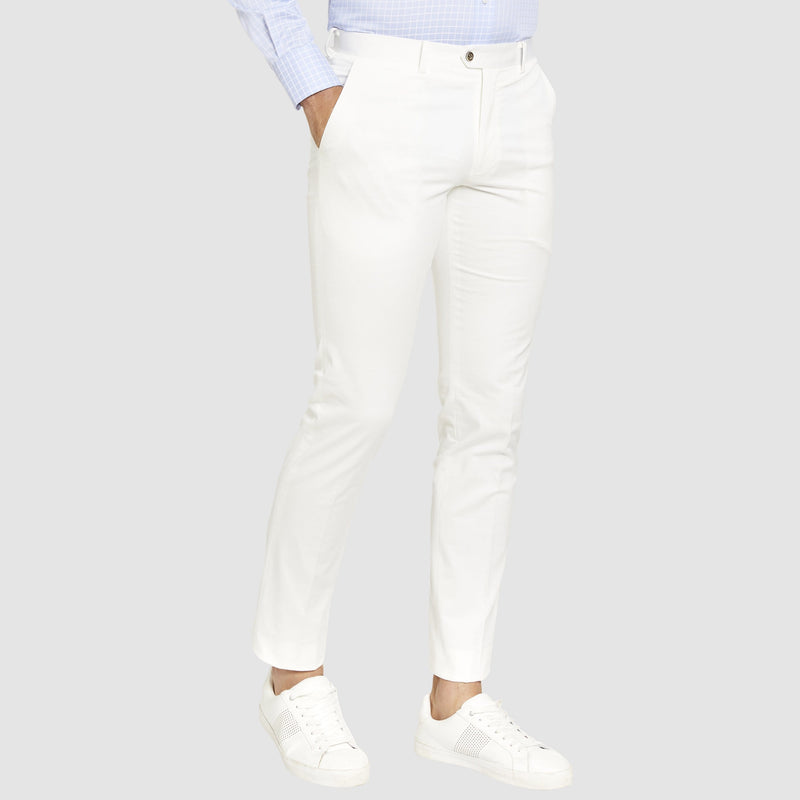 side view of the Studio Italia slim fit chino in white ST-409-91
