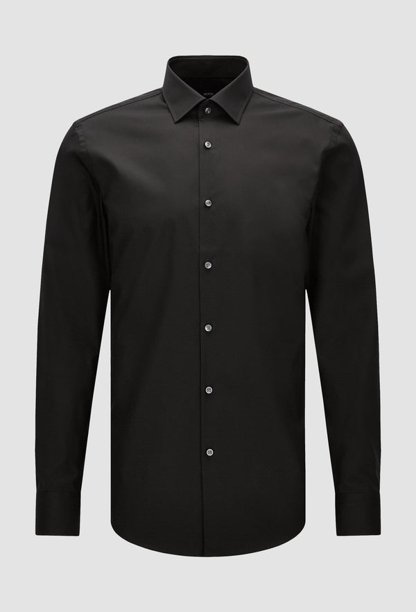 a front view of the Hugo Boss slim fit jenno business shirt in black cotton poplin laying on a grey background
