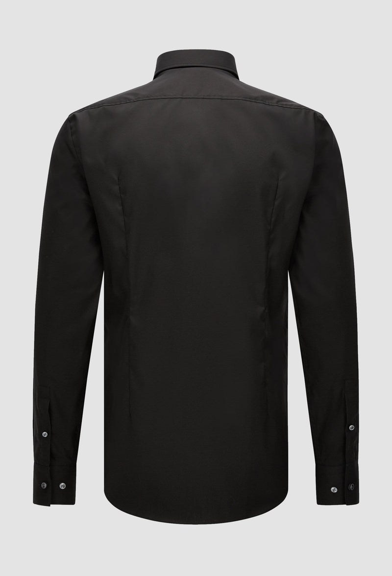 a back view of the Hugo Boss slim fit jenno business shirt in black cotton poplin