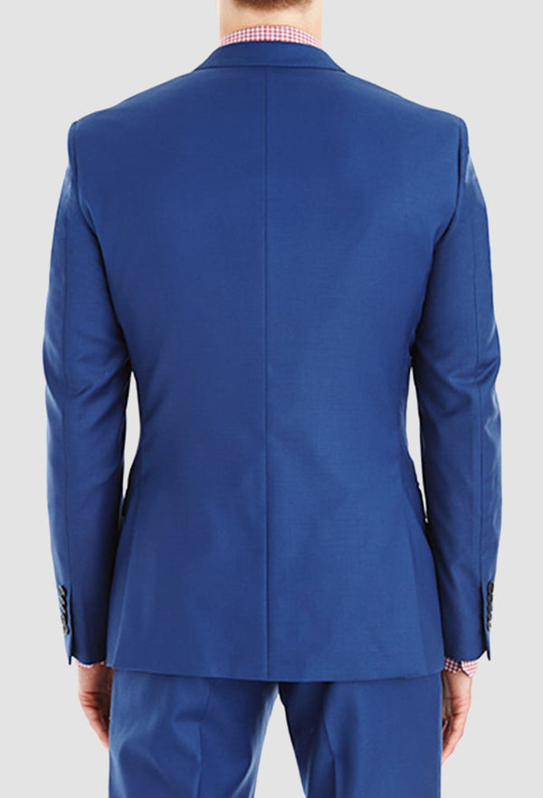 a model faces the back showing us the Gibson slim fit lithium suit jacket in blue pure wool FGY007