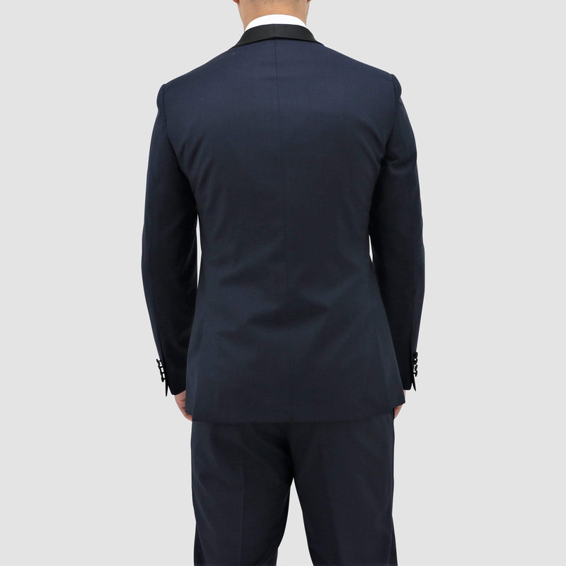 a back view of the Boston classic fit shawl tuxedo in navy blue pure wool B203-11