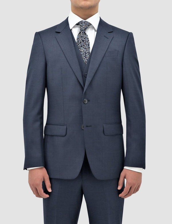 a front on view of the boston classic fit michel suit in blue pure wool