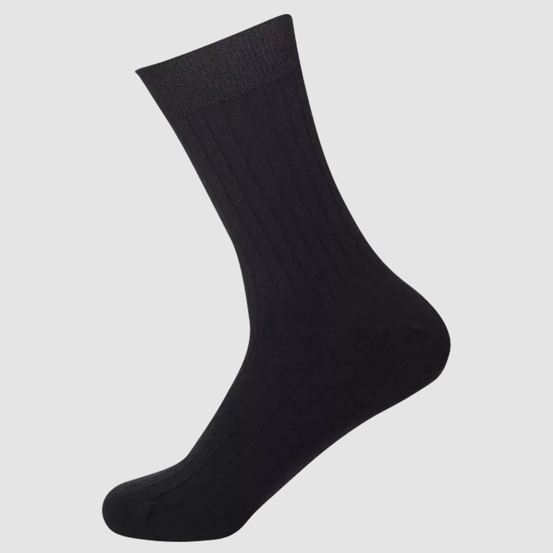 the chusette pure cotton sock in black showing the elastic cuff detail 4-PC-M-1-2