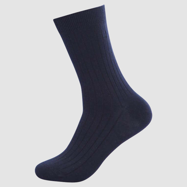 the chusette pure cotton sock in navy showing the elastic cuff detail 4-PC-M-1-1