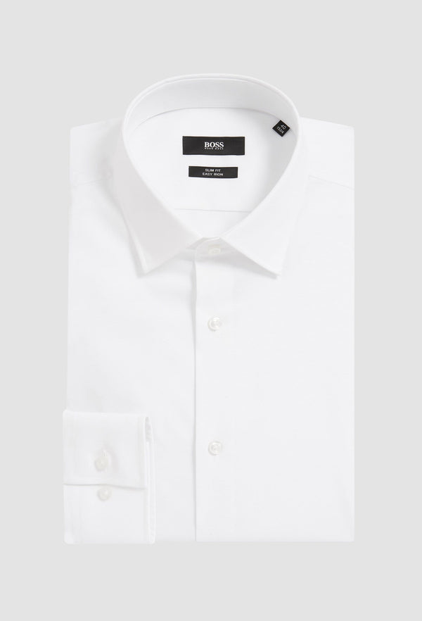 Hugo Boss slim fit jenno business shirt in white cotton poplin