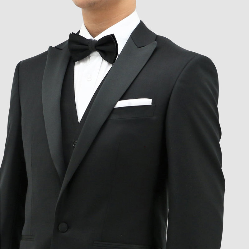 a close up view of the satin peak lapel on the Daniel Hechter slim fit jason tuxedo suit in black pure wool STDH106-01