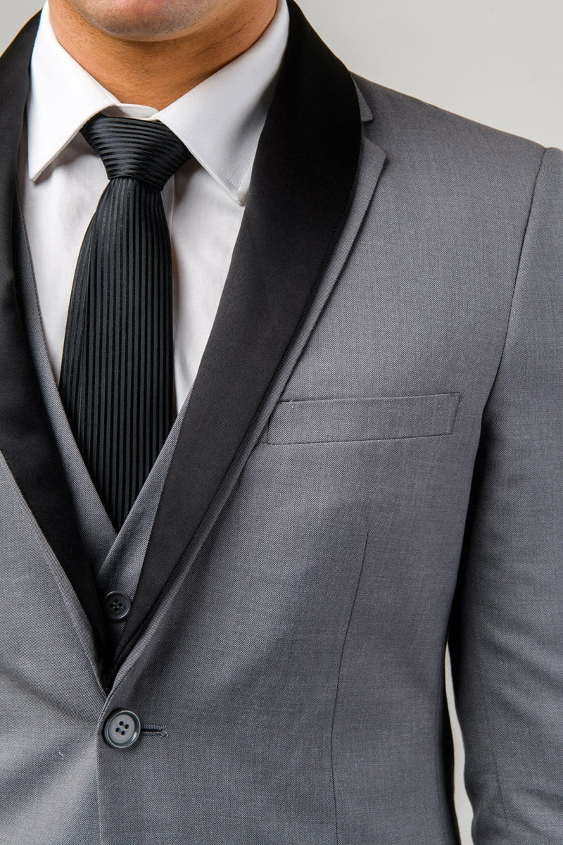A close up of the removable satin shawl collar on the Aston slim fit laneport suit in grey A039301S