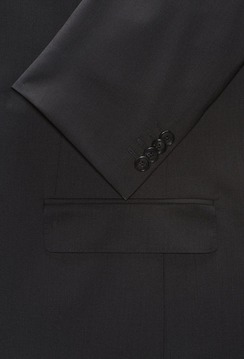 a close up view of the button and pocket details on the Hugo slim fit henry dinner suit jacket in black pure wool HB50379442-001