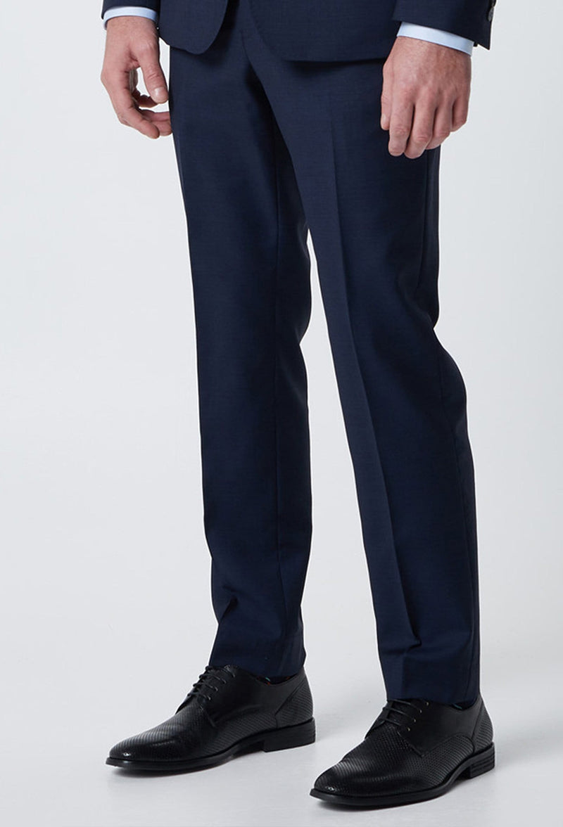 a close up view of the wolf kanat slim fit hearts suit trouser in superfine navy wool s6WK8213