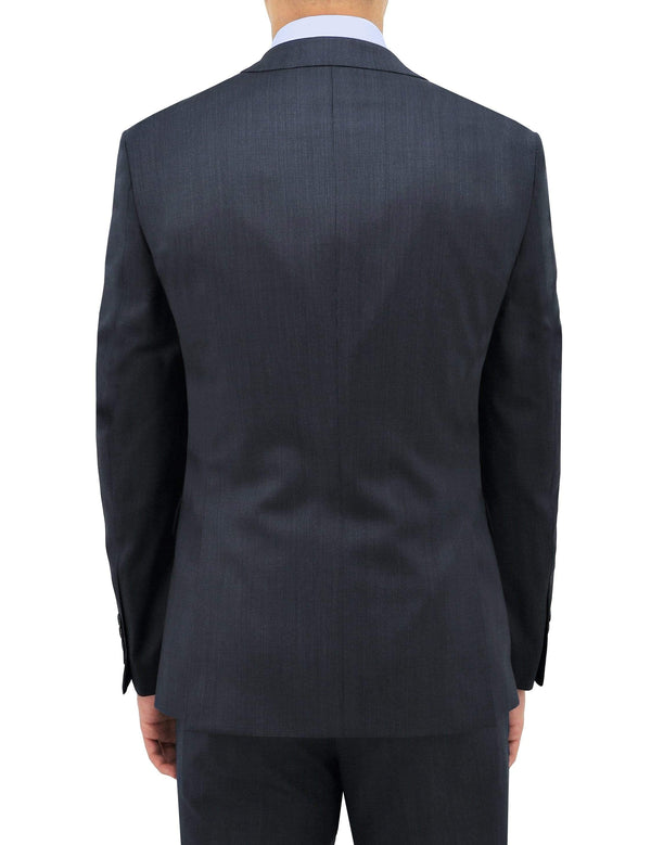 the back of the daniel hechter slim fit suit jacket in navy pure wool STDH101-11 MICHEL2