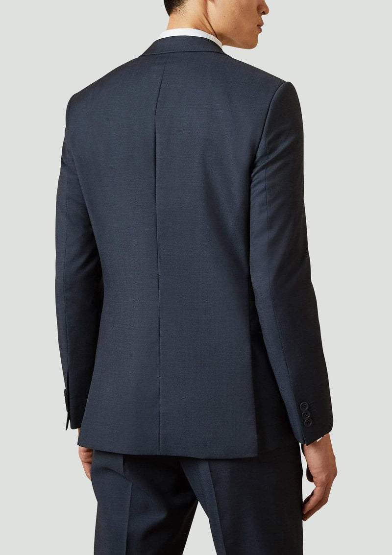 the back of the ted baker slim fit elegan suit jacket in navy pure wool
