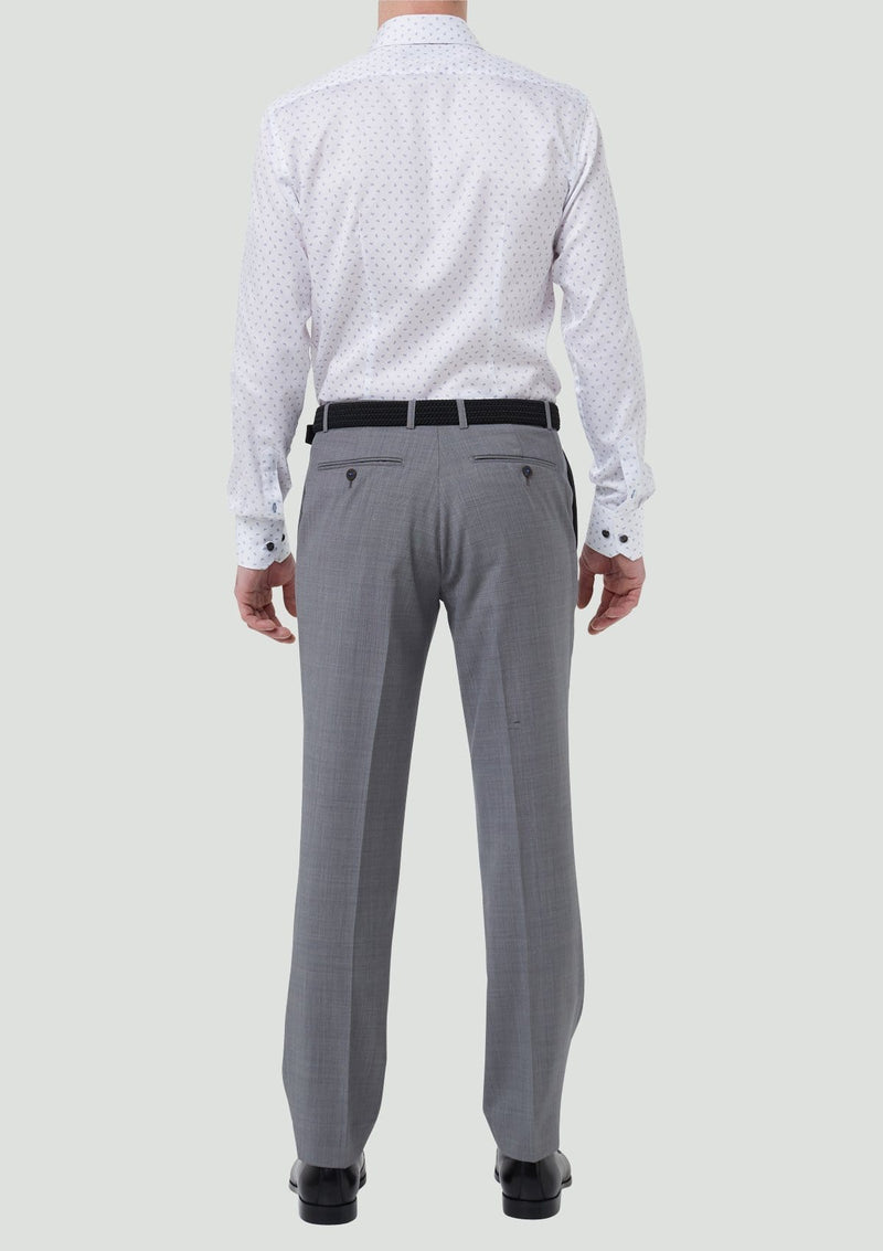 the back view of the classic fit wolf kanat mens suit trousers caviar in grey pure wool 7WK8219