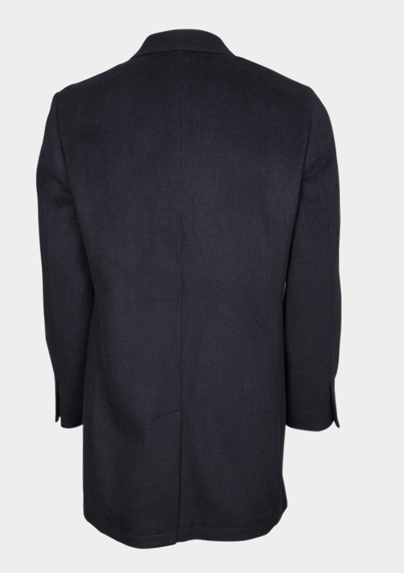 the back of the Jeff Banks classic fit mottle mini check mens coat in charcoal
