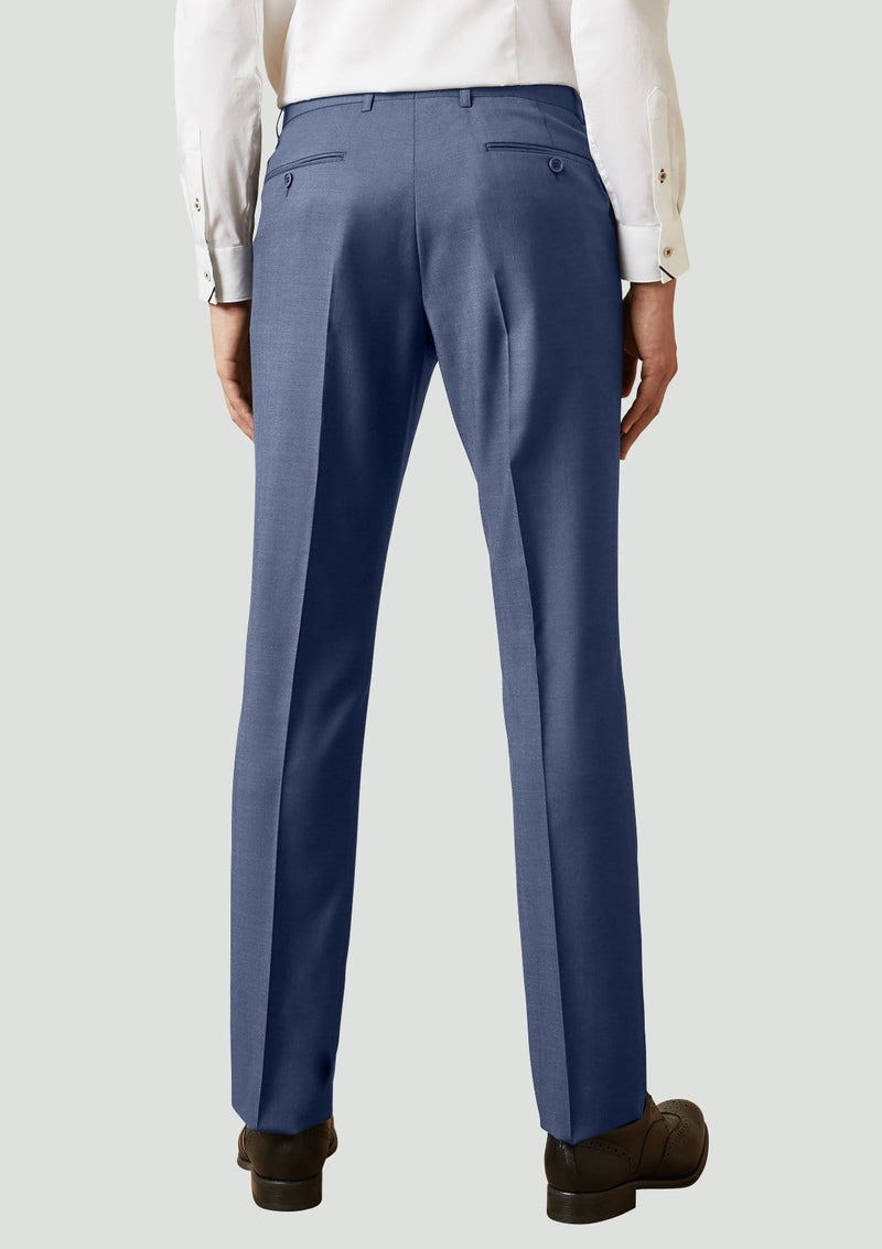 a back view of the mens ted back slim fit elegan trouser in marine blue wool