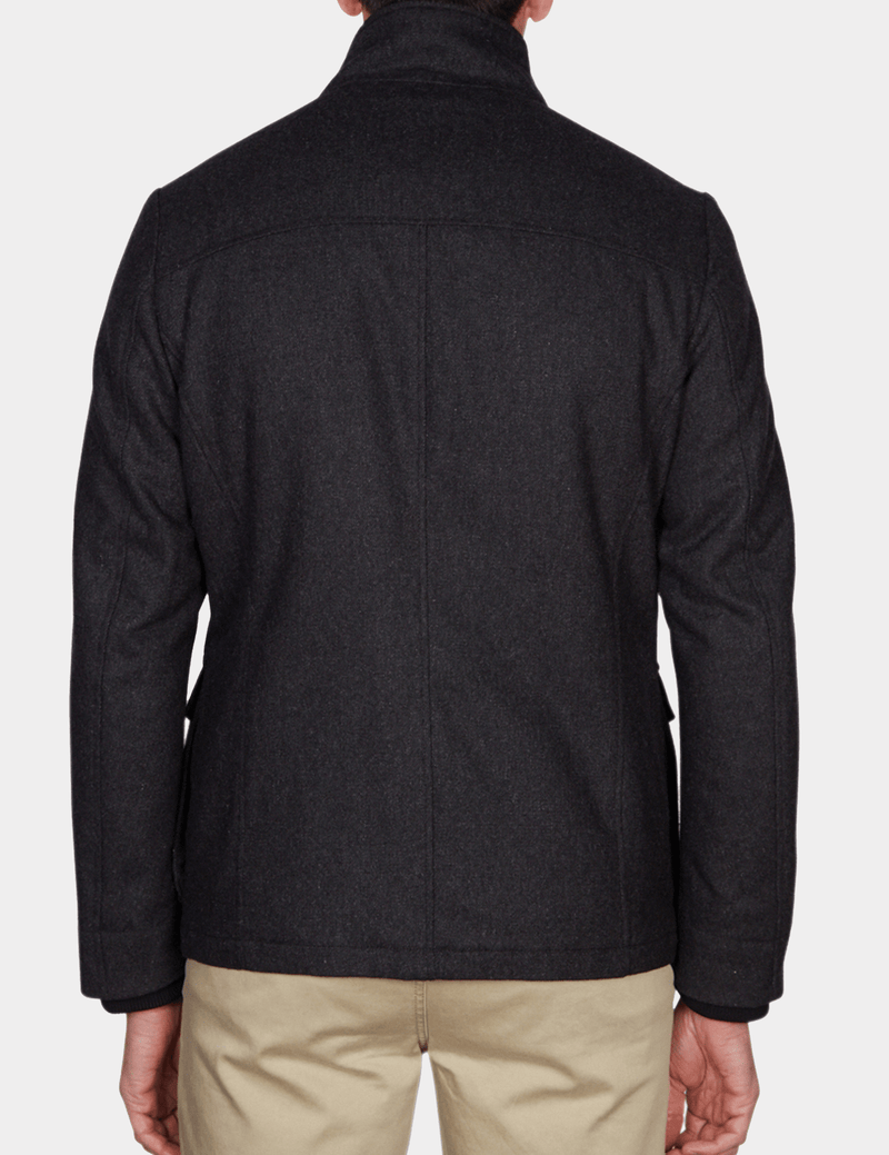 the back view of the jeff banks casual utility mens jacket in charcoal wool K197962104