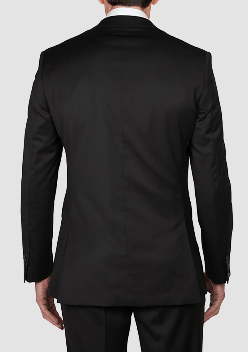 a back view of the back view of the jeff banks slim fit performance mens business suit jacket in black wool lycra blend K386020