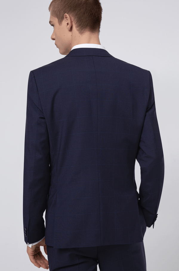 the back view of the on the hugo boss mens arti hesten suit jacket in dark navy pure wool a flatlay image of the slim fit arti hesten hugo boss suit in blue pure wool 50427352