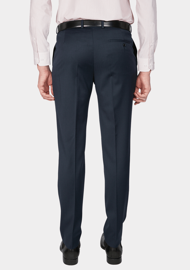 the back view of the jjeff banks stretch wool mens suit trouser in navy blue wool blend K1022108