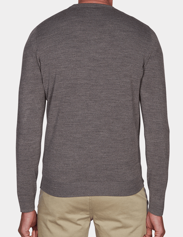 the back of the Jeff Banks slim fit core soft v neck knit in grey K103701171