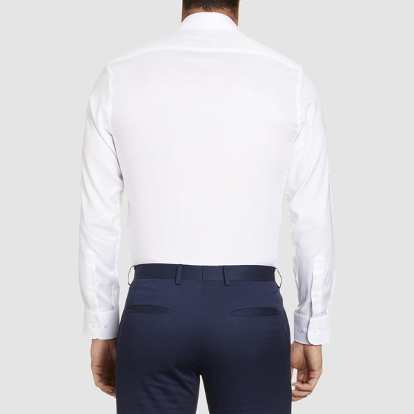 a back view of the studio italia slim fit spencer business shirt in white cotton  ST-21-WHITE