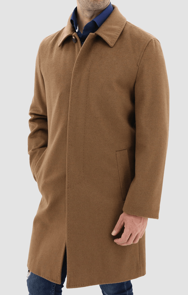 a model wears the daniel hechter slim fit carvell mens coat in tan W20DH817C-24