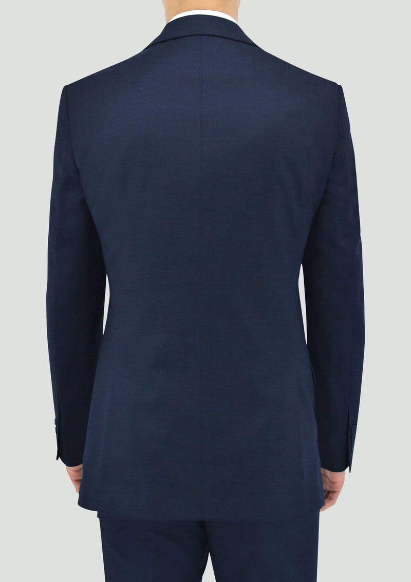 back view of the daniel hechter slim fit shape mens suit jacket in blue merino wool STDH106-15