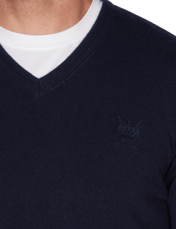 the neck line and embroiderey on jeff banks slim fit soft touch v neck knit in navy K103701171