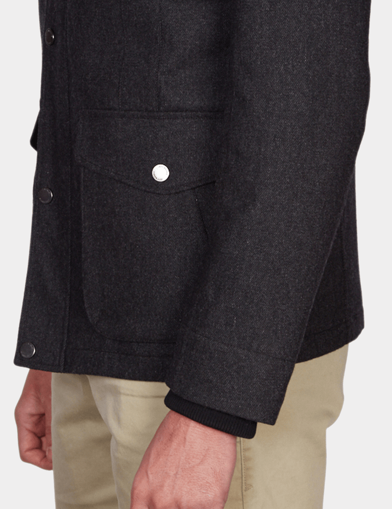 the font pocket detail of the jeff banks casual utility mens jacket in charcoal wool K197962104