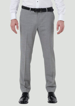 the front of the wolf kanat slim fit yury mens suit trouser in black and white houndstooth 7WK8258