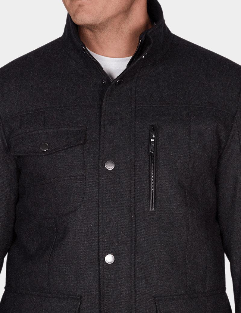 the front pocket and zip details on the jeff banks casual utility mens jacket in charcoal wool K197962104