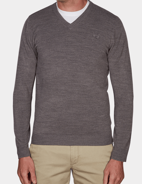 a front view of the Jeff Banks slim fit core soft v neck knit in grey K103701171