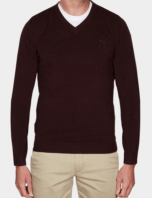 Slim Fit Core V Neck Knit by Jeff Banks Product Code: K103701171 Burgundy