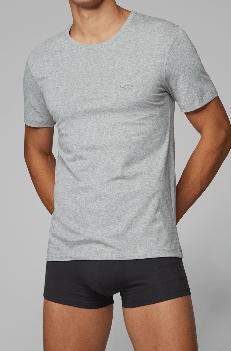 the grey mens tshirt with soft grey cotton and crew neck by hugo boss