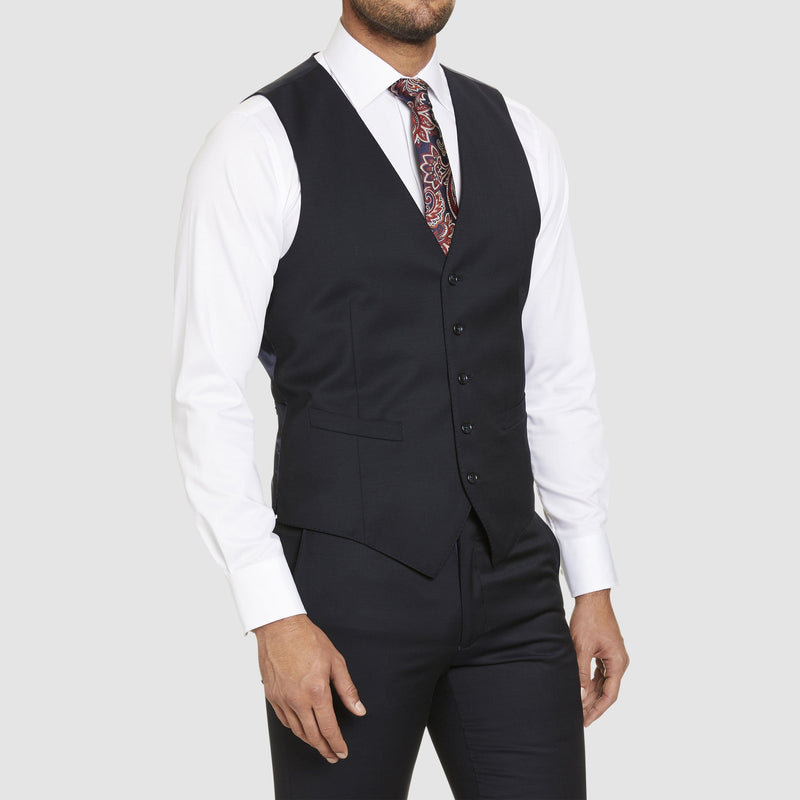a close up side view of the studio italia slim fit hudson vest in navy merino wool ST-362-11