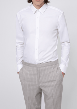 a front view of the Hugo slim fit Elisha business shirt in white pure cotton