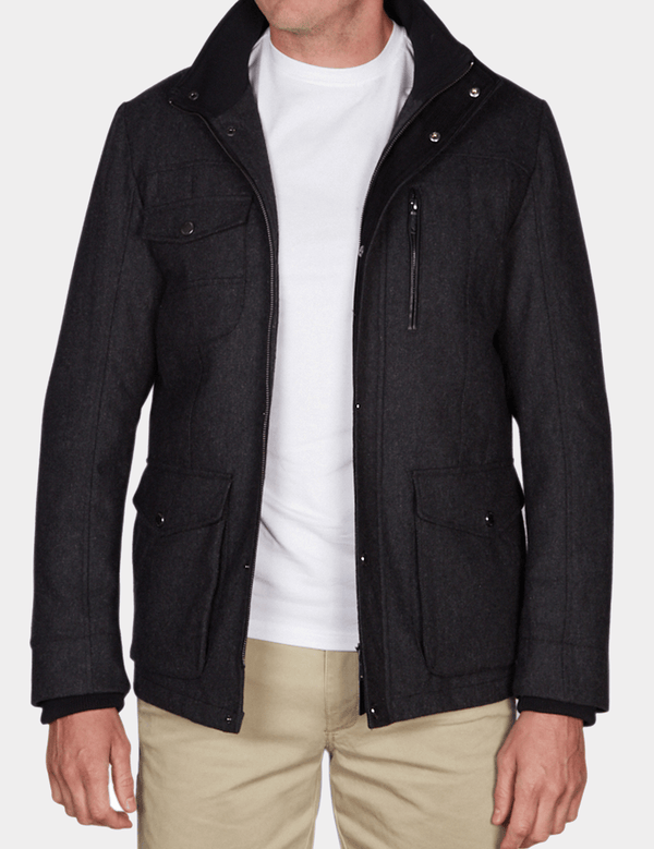 the jeff banks casual utility mens jacket in charcoal wool with the zip open layered of a casual t-shirt and chino K197962104