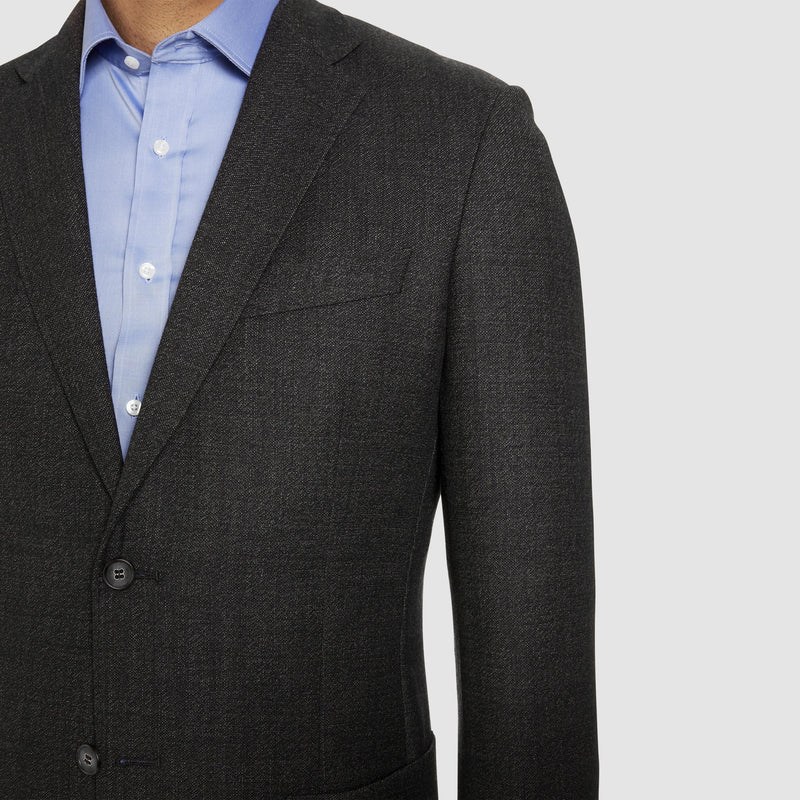 notch lapel detail on the studio italia slim fit clive sports jacket in charcoal wool  ST-460-41