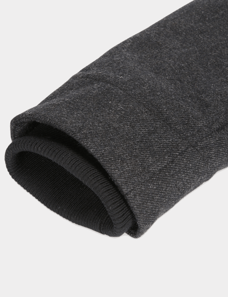 the ribbed sleeve cuff on the jeff banks casual utility mens jacket in charcoal wool K197962104