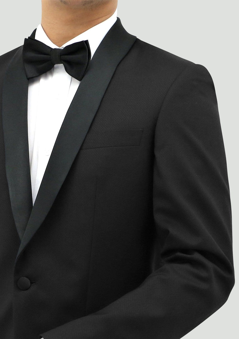 contrast shawl lapel on the boston classic fit edward tuxedo jacket in black pure wool STB203-01