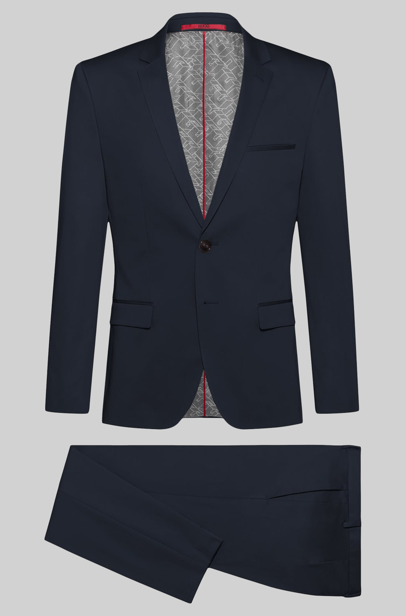 the slim fit hugo boss arti hesten mens suit in dark navy pure wool 50427397