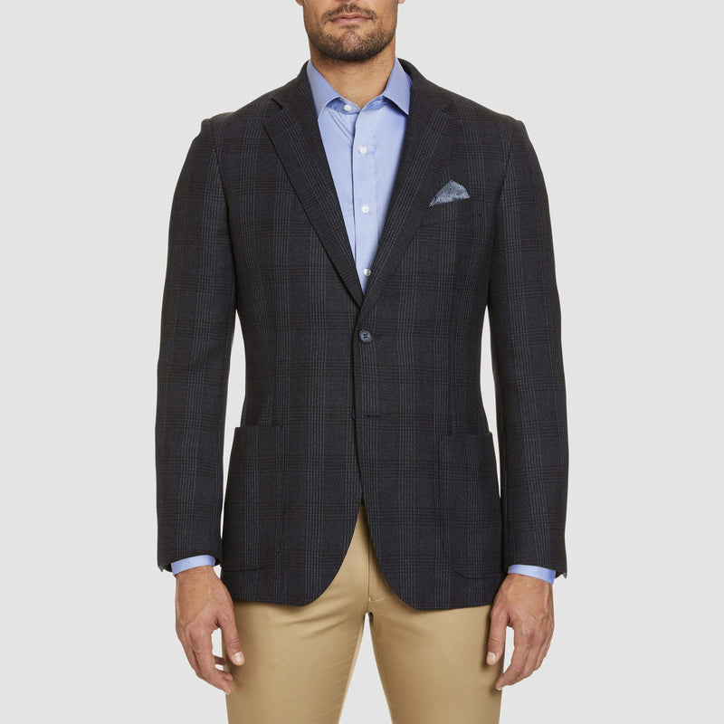 front view of the slim fit studio italia vespa sports jacket in navy wool  ST-440-11