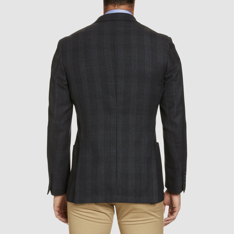 back view of the slim fit studio italia vespa sports jacket in navy wool showing the checkered print ST-440-11