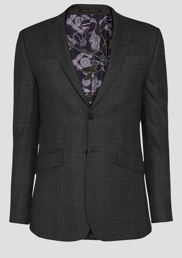 Ted Baker slim fit elegan mens suit in charcoal check pure wool 1RL2003