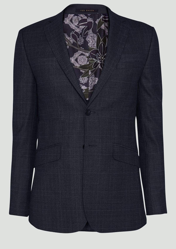 the slim fit ted baker elegan suit jacket in gunmetal grey check pure wool 1RL2004