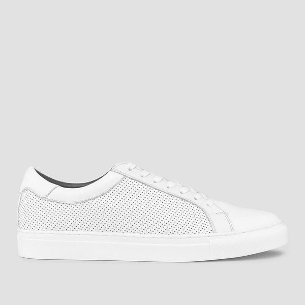 a side on view of the smith white leather mens sneaker by aquila