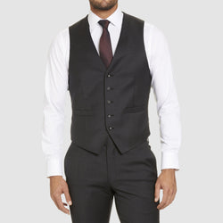 a front view of the studio italia alex vest in charcoal wool blend ST-470-21
