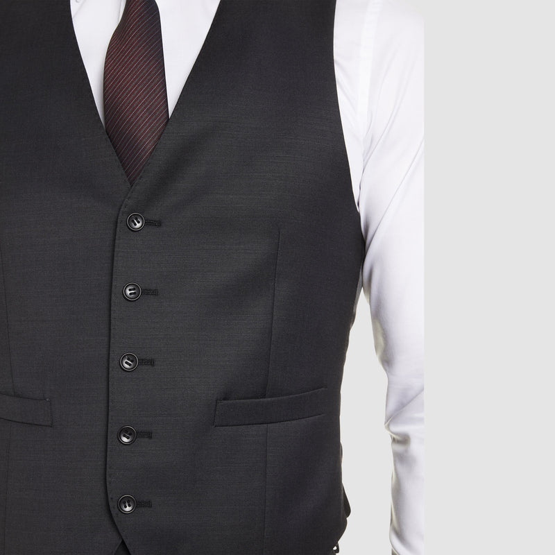 the five button detail on the a front view of the studio italia alex vest in charcoal wool blend ST-470-21
