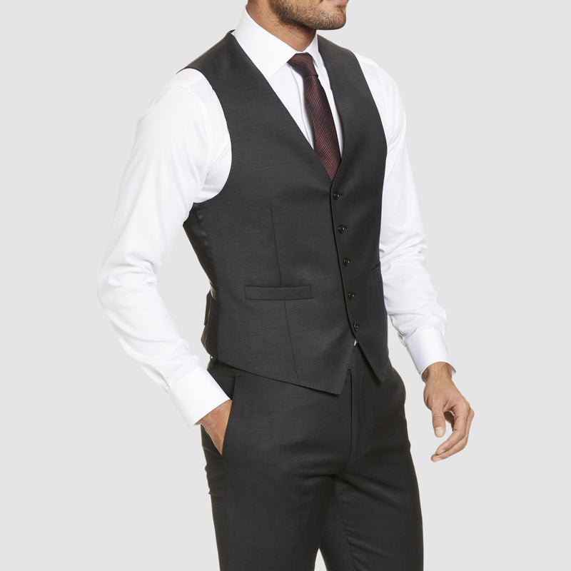 Studio Italia classic fit alex vest in charcoal wool blend