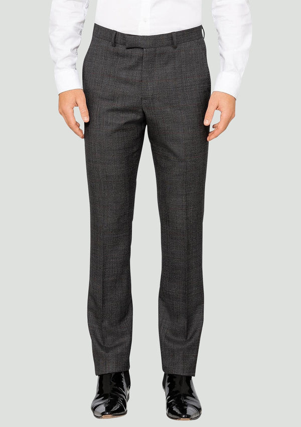 a front view of the elegan ted baker slim fit men's suit trousers in charcoal check 1RL2003