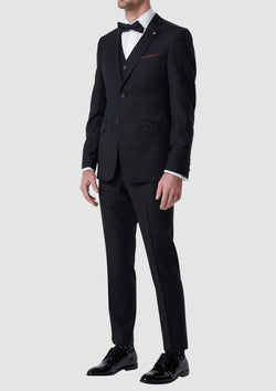 Wolf Kanat slim fit autograf suit in black pure wool